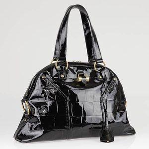 YSL Muse Black Patent Croc Handbag